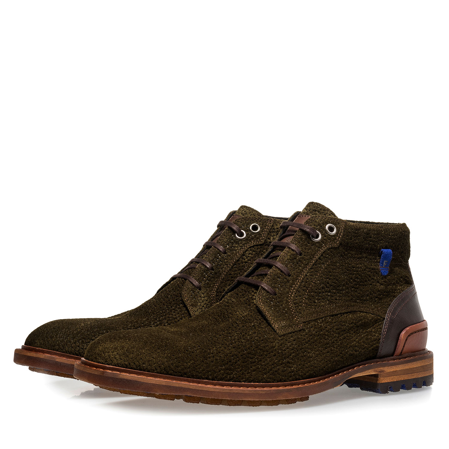 20228/26 - Olive green printed suede leather lace boot