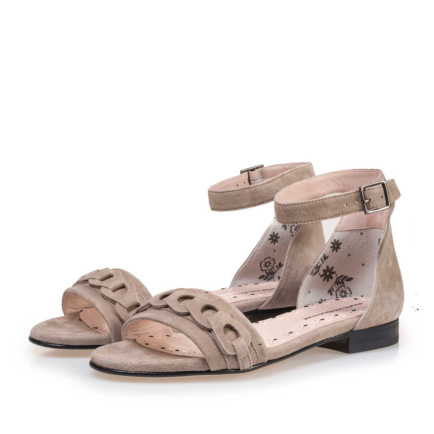85224/01 - Taupe-coloured calf's suede leather heeled sandal