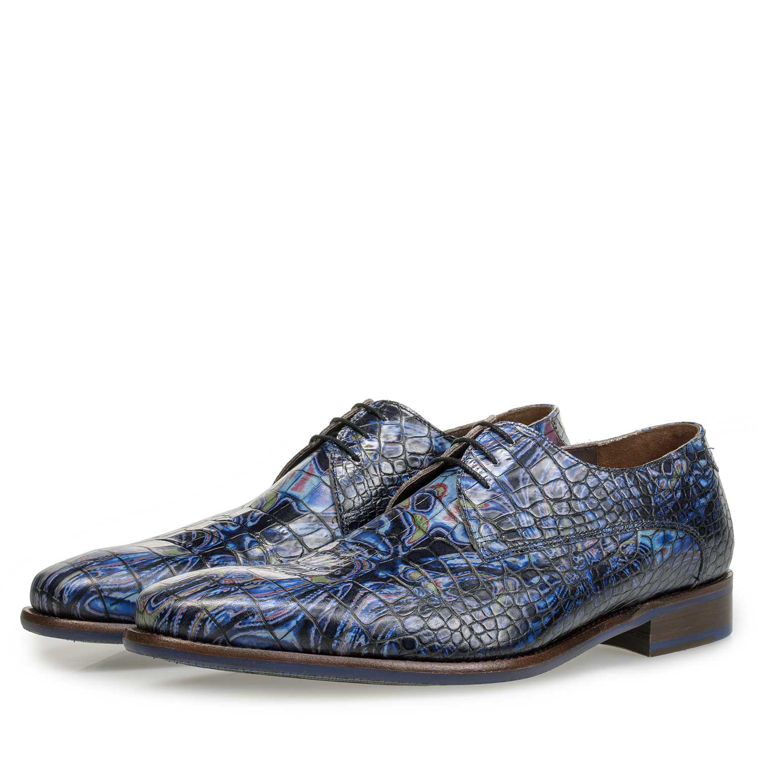 14267/03 - Blue Premium leather lace shoe with croco print