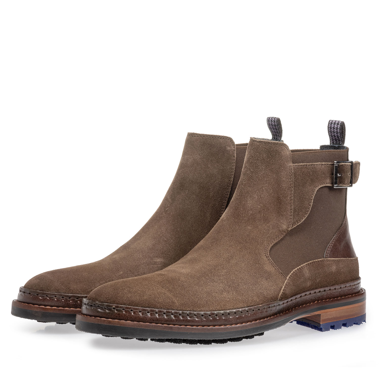 10529/07 - Chelsea boot suede leather dark taupe