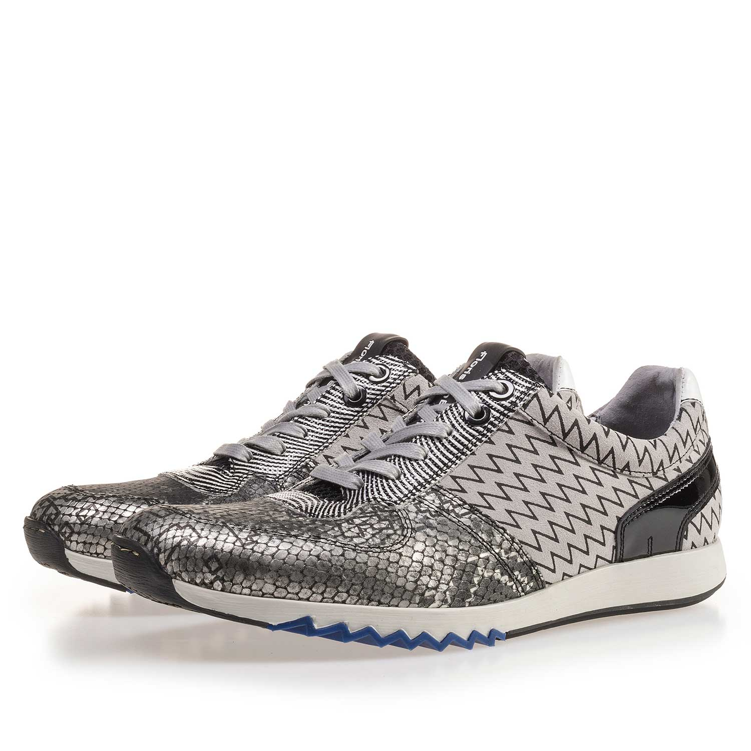 16204/01 - Grey patterned Premium leather sneaker